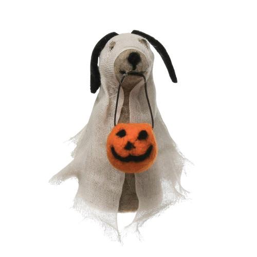 Dog In Ghost Costume Figurine