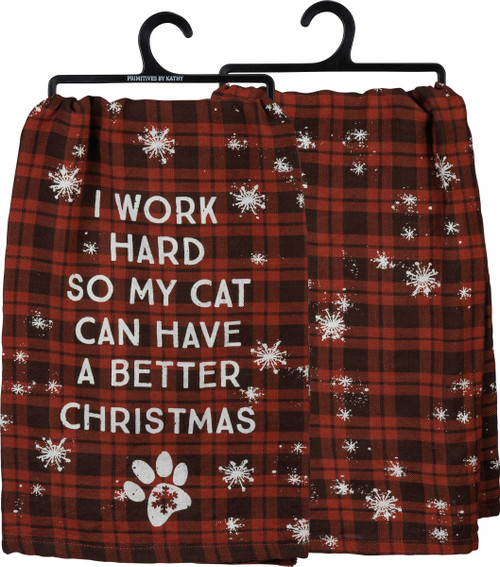 I Work Hard...Cat Dish Towel