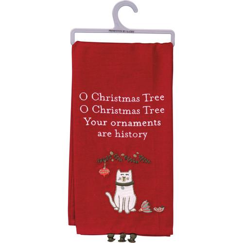 Ornaments Are History...Cat Dish Towel