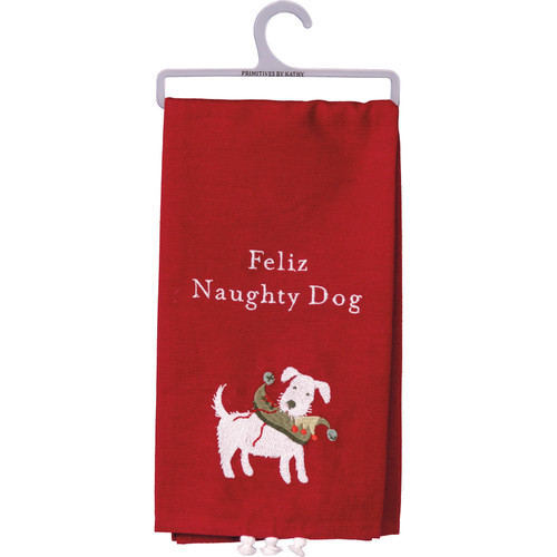 Feliz Naughty Dog Dish Towel