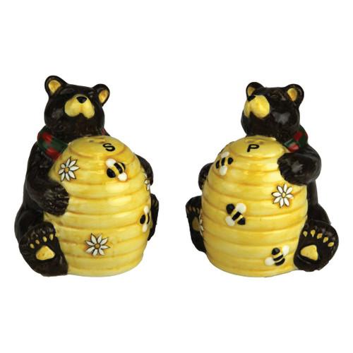 Black Bear & Beehive Salt & Pepper Shakers