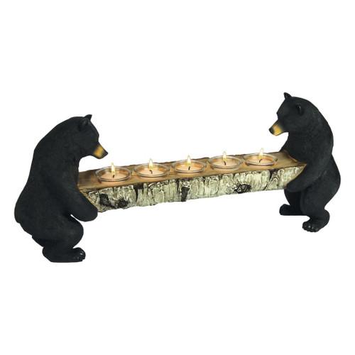 Black Bears With Birch Log Votive Candle Holder