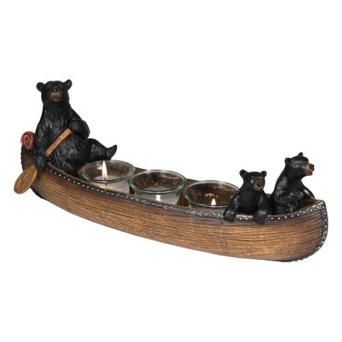 Black Bears In Canoe Votive Candle Holder