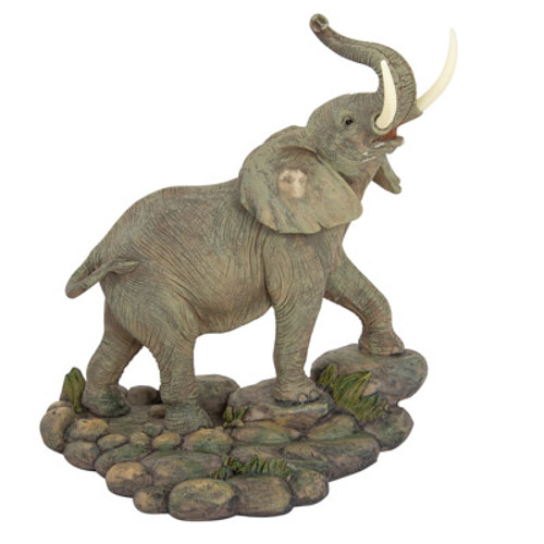 Elephant On Rocks Figurine