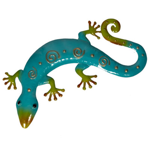 Aqua Blue & Green Metal Lizard Wall Décor