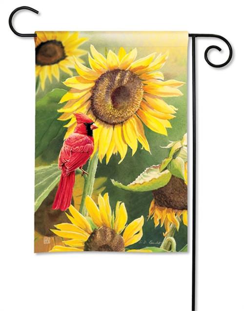 Cardinal & Sunflowers Garden Flag