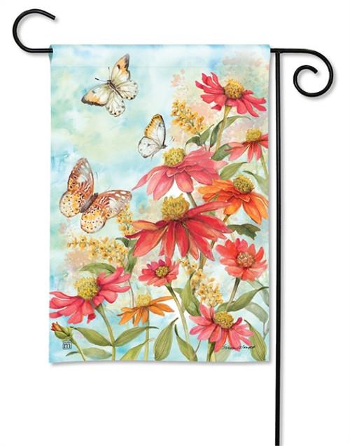 Butterflies & Zinnias Garden Flag