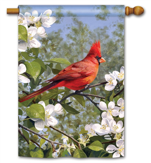 Cardinal in Blossoms House Flag