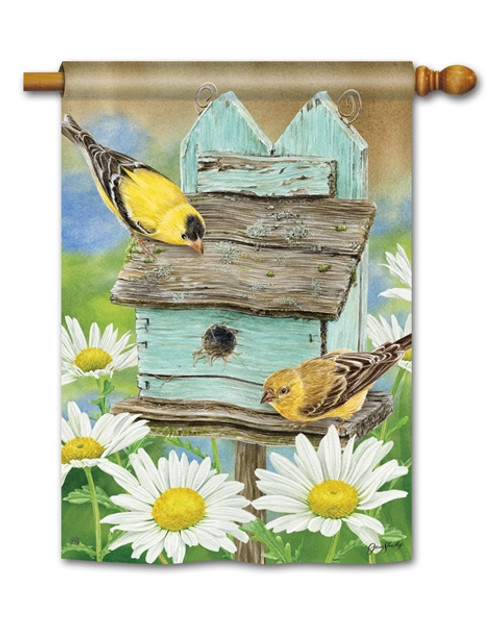 Goldfinches & Daisies House Flag