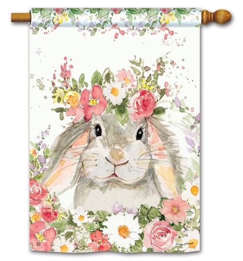 Flower Bunny House Flag