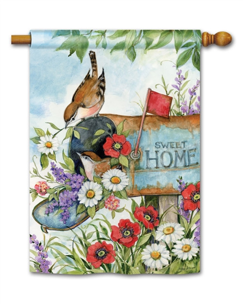 Robins In Mailbox House Flag