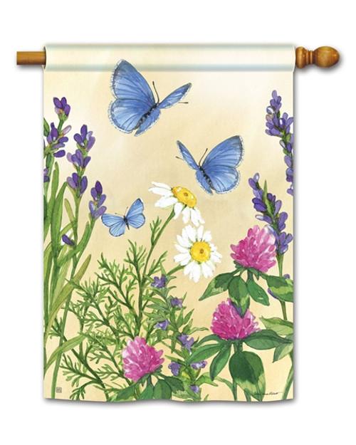 Blue Butterflies House Flag