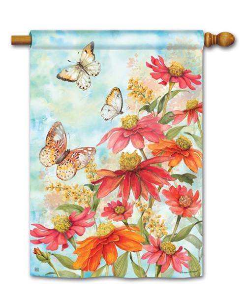 Butterflies & Zinnias House Flag