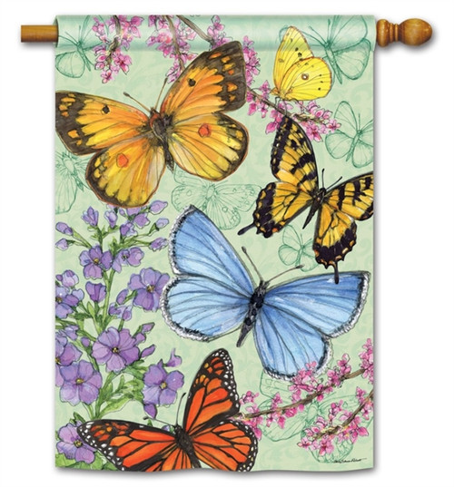 Colorful Butterflies House Flag