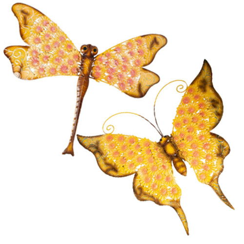Yellow Filigree Butterfly & Dragonfly Wall Decor