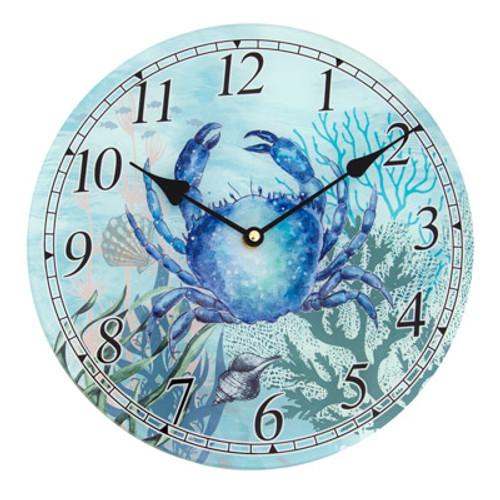Glass Blue Crab Clock
