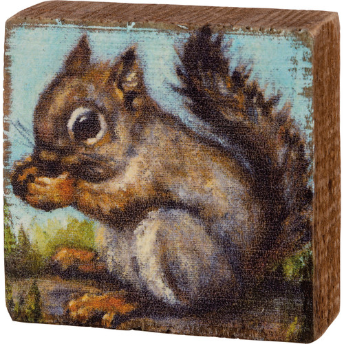 Squirrel Wood Block Art