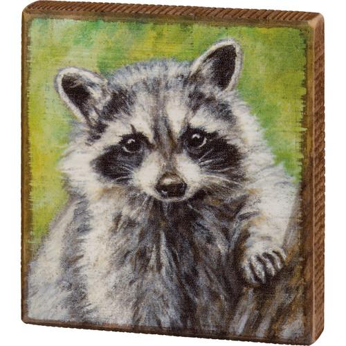 Raccoon Wood Block Art