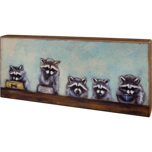 Raccoon Family Wood Block Art