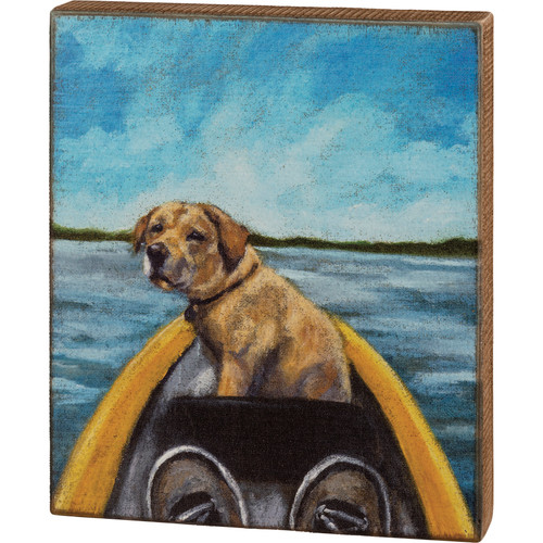 Yellow Lab In A Canoe Box Sign
