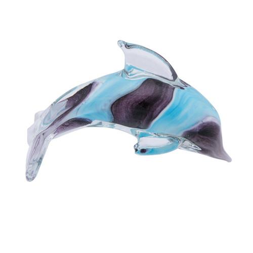 Blue & Purple Glass Art Dolphin Figurine