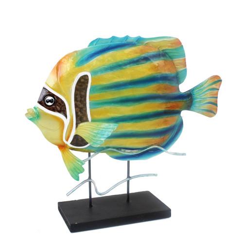 Blue & Yellow Capiz Angelfish On Stand
