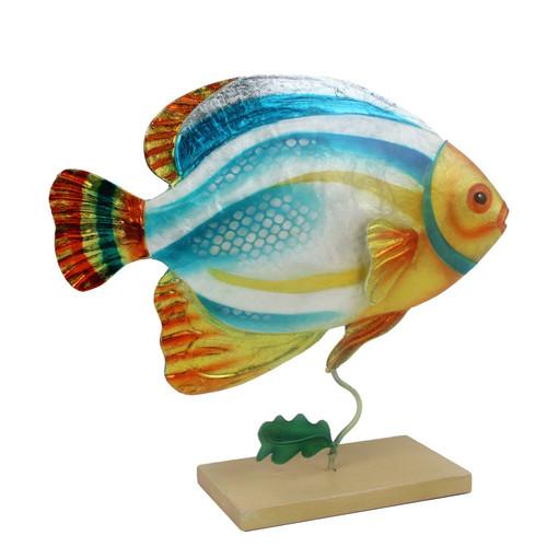 Colorful Capiz Angelfish On Stand