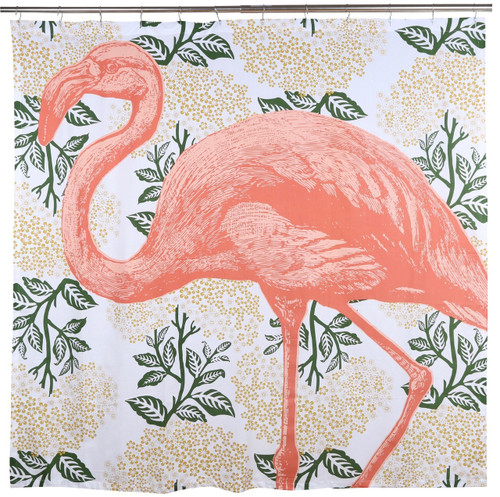 Coral Flamingo Shower Curtain