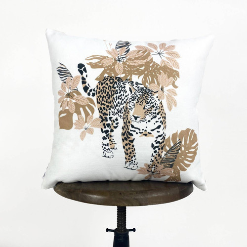 Leopard & Flowers Throw Pillow