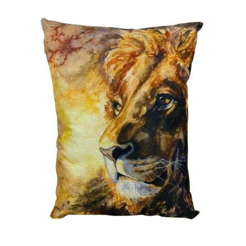 Watercolor Lion Throw Pillow