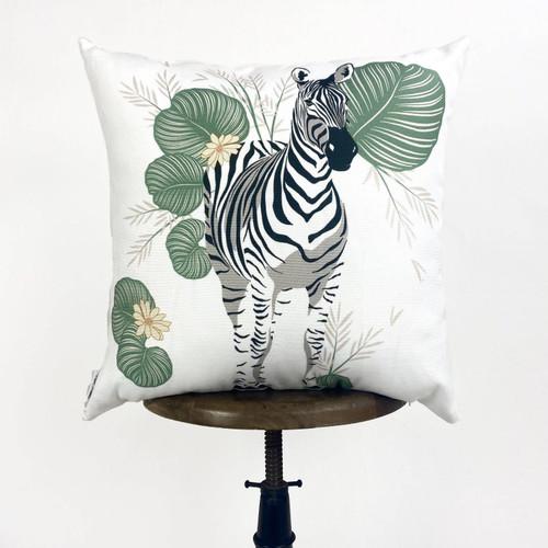 Zebra & Leaves Throw Pillow