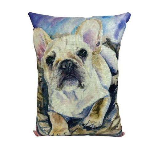 Watercolor French Bulldog Throw Pillow