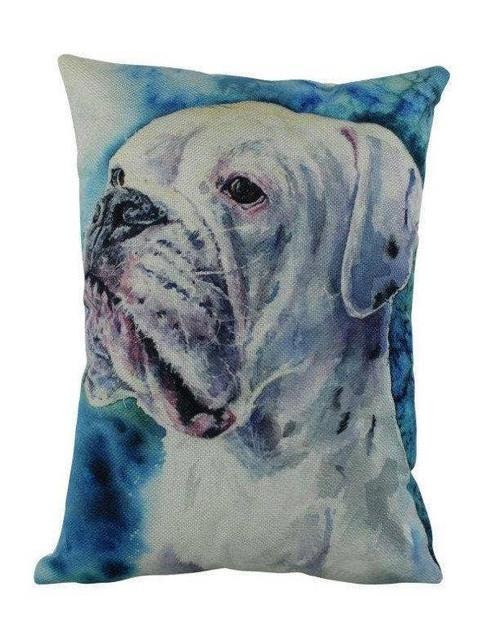 Watercolor White Boxer Throw Pillow