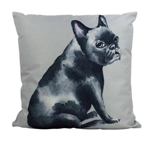 Watercolor Black French Bulldog Throw Pillow