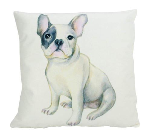 Watercolor White French Bulldog Throw Pillow