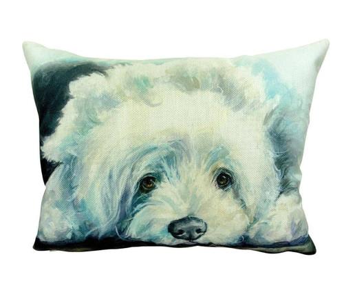 Watercolor Old English Sheepdog Throw Pillow