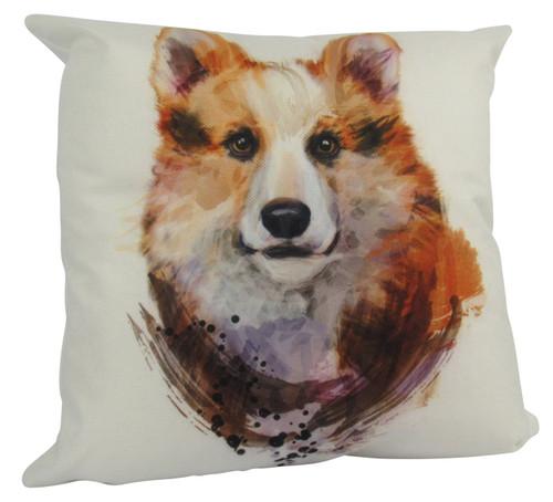 Watercolor Welsh Corgi Throw Pillow