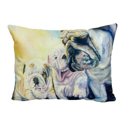 Watercolor Bulldog & Pups Throw Pillow
