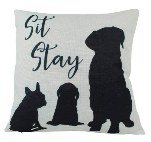 Sit Stay Dog Throw Pillow