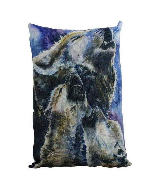 Watercolor Wolves Throw Pillow