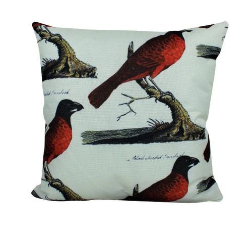 Red Bird Design Throw Pillow