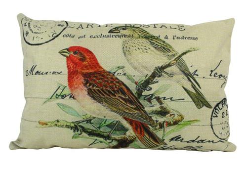 Red Bird Postcard Design Throw Pillow