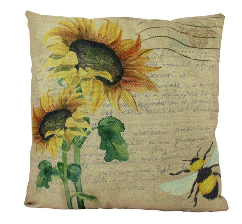 Bee & Sunflower Vintage Accent Pillow