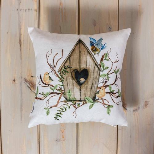 Bird House Accent Pillow