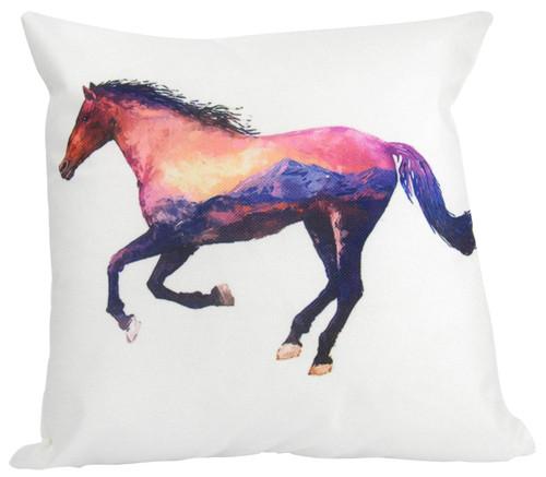 Double Design Horse Throw Pillow
