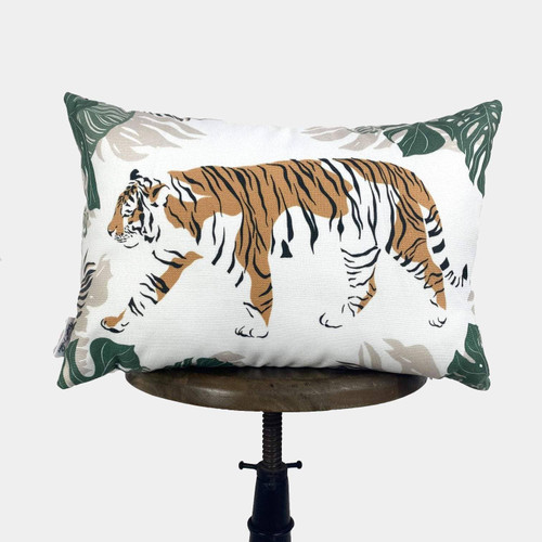 Orange Tiger Lumbar Throw Pillow