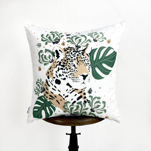 Leopard & Green Leaves Throw Pillow
