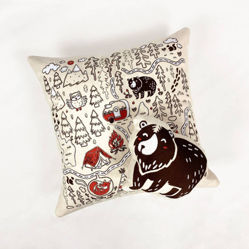 Embroidered Camping & Forest Animals Throw Pillow Set