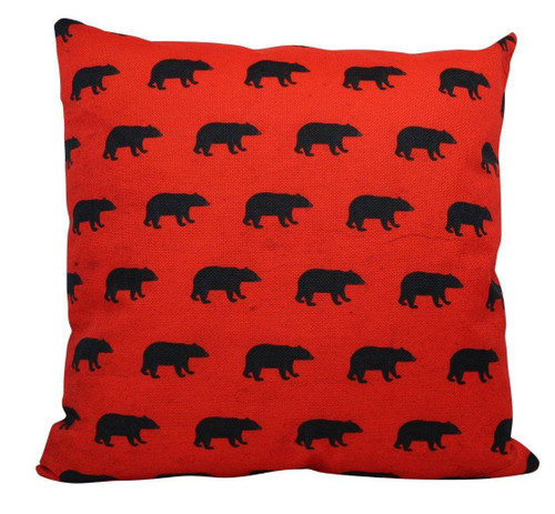 Red Bear Christmas Throw Pillow