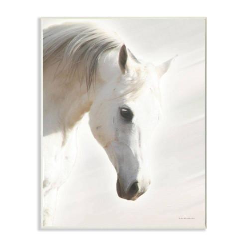 White Stallion Plaque Art